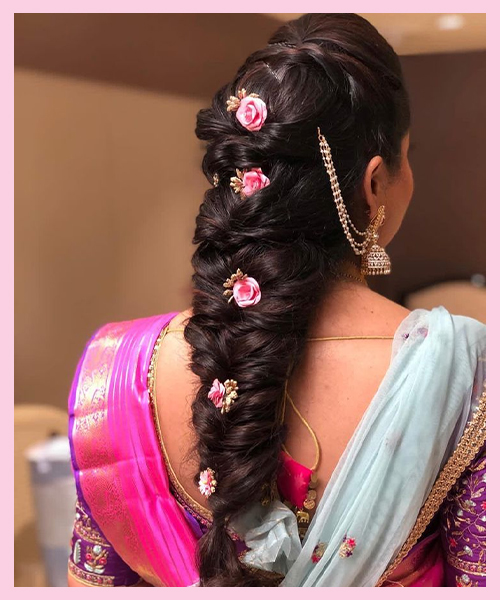 Fishtail-braid bridal hairstyle for Indian Brides