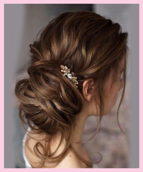 Loose-Messy-Bun Bridal Hairstyle for Indian Brides